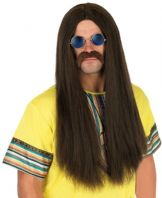 60's 70's Hippie Wig & Glasses (Brown)